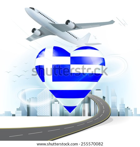 travel and transport concept with Greece flag on heart vector illustration with cityscape background - stock vector