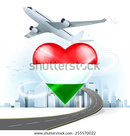 travel and transport concept with Hungary flag on heart vector illustration with cityscape background - stock vector