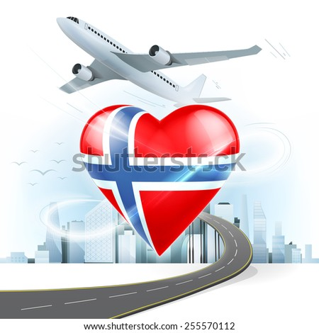 travel and transport concept with Norway flag on heart vector illustration with cityscape background - stock vector