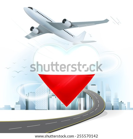 travel and transport concept with Poland flag on heart vector illustration with cityscape background - stock vector