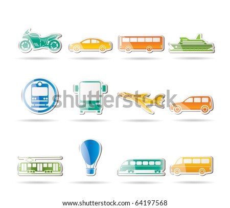 Travel and transportation of people icons - vector icon set - stock vector