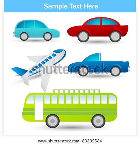 travel and transportation set - stock vector