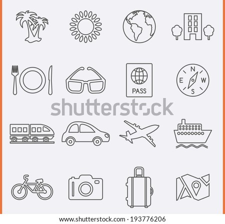 Travel and Vacation Icons in thin line style - stock vector
