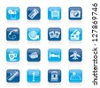 Travel and vacation icons - vector icon set - stock vector