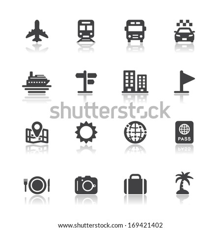 Travel and Vacation Icons with White Background - stock vector