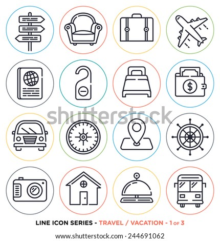 Travel and vacation line icons set. Vector collection of holiday symbols & objects. - stock vector