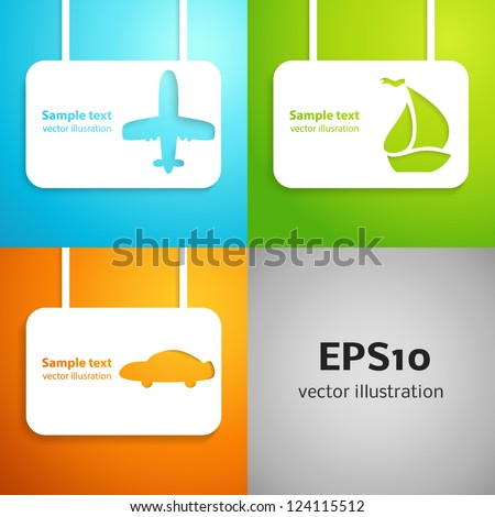 Travel applique background. Vector illustration for your transportation presentation. Picture of the blue airplane, green boat and orange car. Easy to edit and change color. - stock vector
