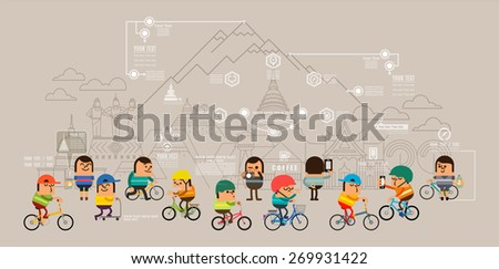 Travel around the city with bicycle, Sport road bike riders cycle, Mobile GPS navigation street map and pins people searching objects on map, Vector illustration - stock vector