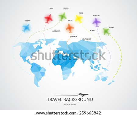 travel around the world background, abstract map,  Tourism concept image. Holidays and vacation.Sea, ocean, land, , beach, air traveling. - stock vector