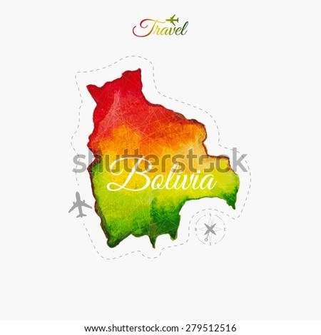 Travel around the  world. Bolivia. Watercolor map - stock vector