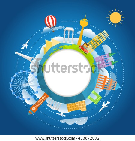 Travel around the world concept. Template for a text - stock vector