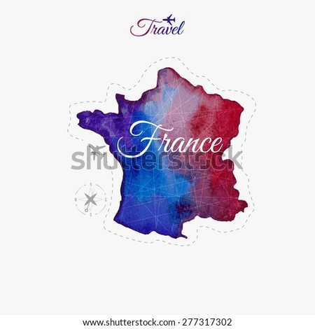 Travel around the  world. France. Watercolor map - stock vector