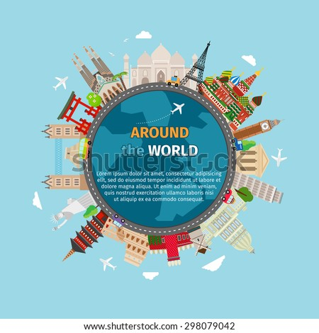 Travel around the world postcard. Tourism and vacation, earth world, journey global, vector illustration - stock vector
