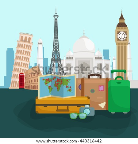 Travel around the world poster. Tourism and vacation, earth world, journey global, vector illustration. World travel concept banner, international business background - stock vector