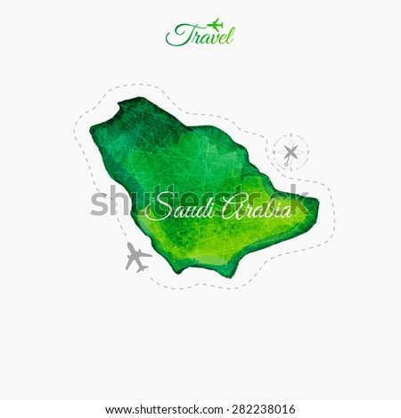 Travel around the  world. South Arabia. Watercolor map - stock vector