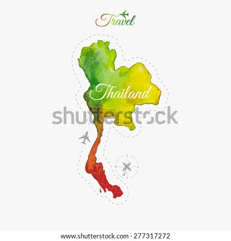 Travel around the  world. Thailand. Watercolor map - stock vector
