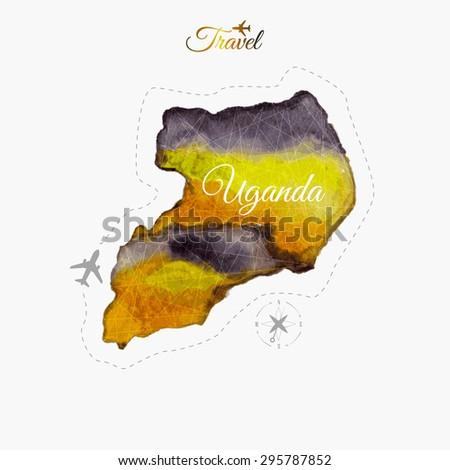 Travel around the  world. Uganda. Watercolor map - stock vector