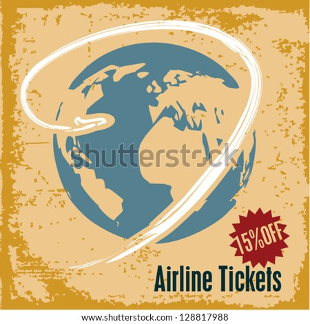 Travel background. Airline tickets. Retro style travel advertising.