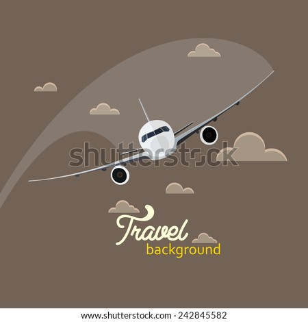 Travel background airplane vector illustration - stock vector