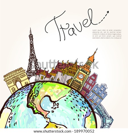 Travel background.  All elements and textures are individual objects. Vector illustration scale to any size. - stock vector