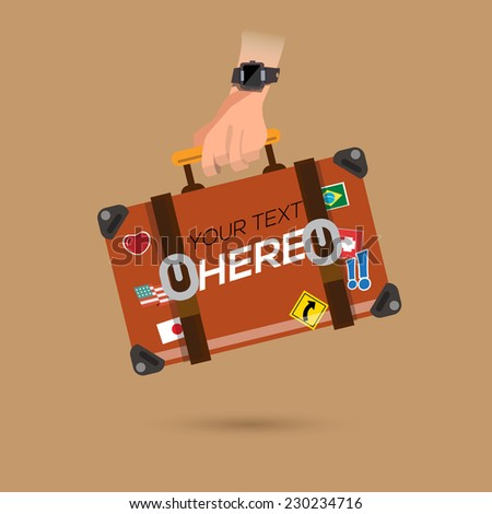 travel bag in hand. Place your own text  - vector illustration - stock vector