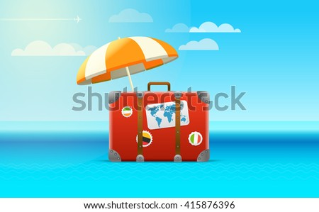 Travel bag vector illustration. Vacation concept - stock vector