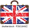 Travel bag with a British flag - stock vector