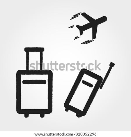 travel bags and airplane - stock vector