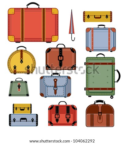 Travel bags in various colors on a white background - stock vector