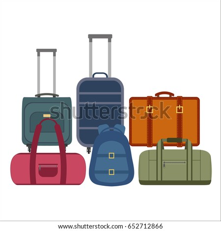 Travel bags over white background