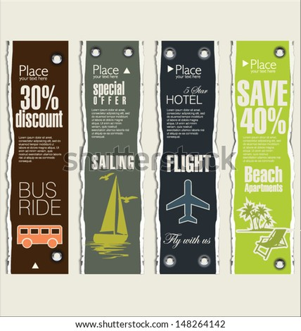 Travel banner set  - stock vector