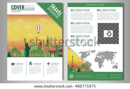 Travel Brochure Design Famous Landmarks World Stock Vector