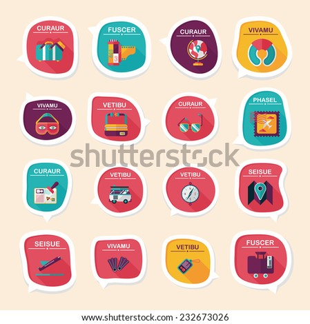 Travel bubble speech banner design flat background set, eps10, dummy text