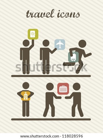 travel business icons with man sign. vector illustration - stock vector