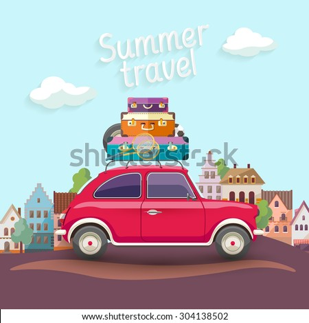 "Travel by car. Flat design with text ""Summer travel"" - stock vector"