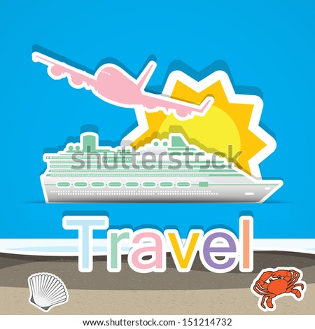 Travel by cruise ship and airship,Illustration eps 10 - stock vector