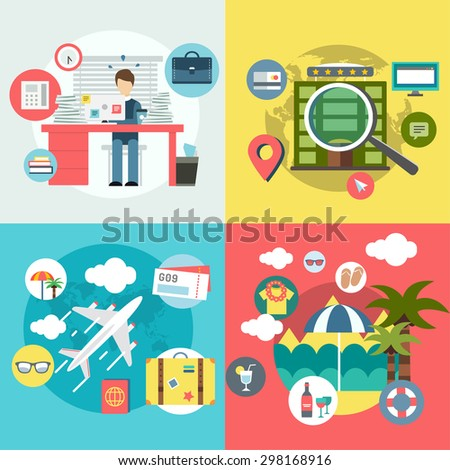 Travel by plane. Vacation summer travel icon set. Summer, holiday, umbrella, plain, fly, hotel, baggage, sea, bag, clock, palm, map, travel, calendar, interface icons. Logo icons. Vector illustration. - stock vector