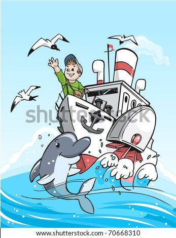 Travel by the boat. Vector detailed illustration - stock vector