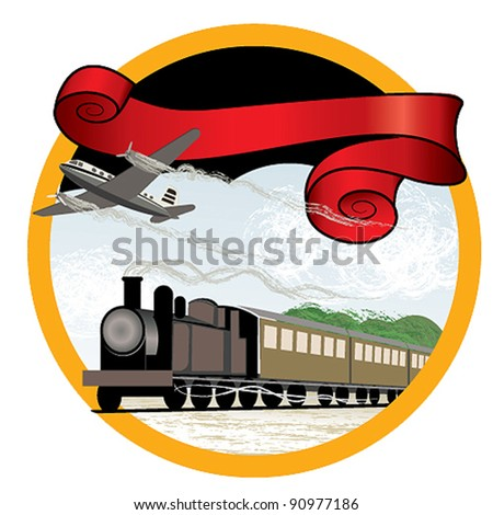 Travel by train and plane - stock vector