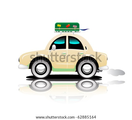 Travel car - stock vector