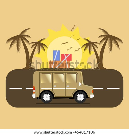 Travel car campsite place landscape. Palm, birds, sun, beach, and road. Vector illustration in flat style.