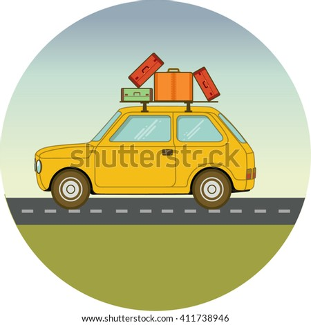 Travel car flat illustration - stock vector