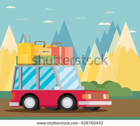 Travel car. Vector illustration. - stock vector