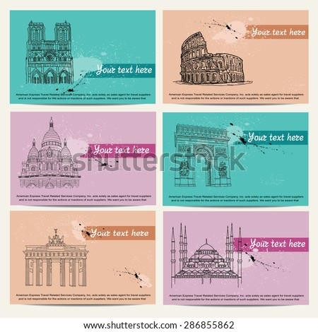 travel cards - stock vector