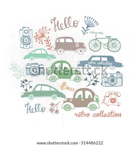 Travel concept background. Retro cars icons set. Vintage cars vectors. - stock vector
