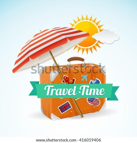 Travel Concept Banner Card. Summer Vacation. Vector illustration - stock vector