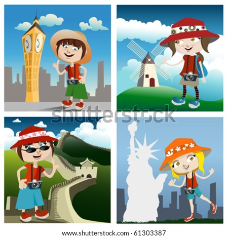 travel concept cartoon characters - stock vector