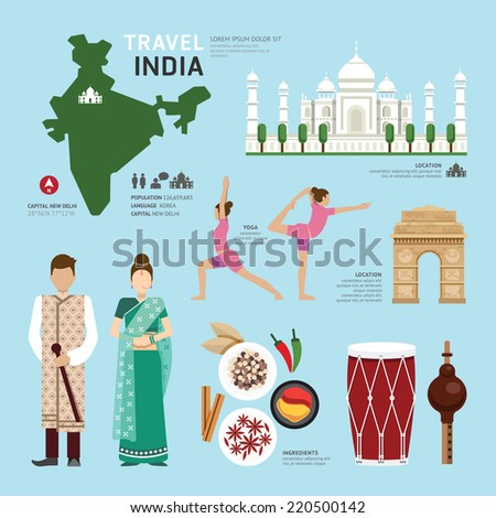 Travel Concept India Landmark Flat Icons Design .Vector Illustration  - stock vector