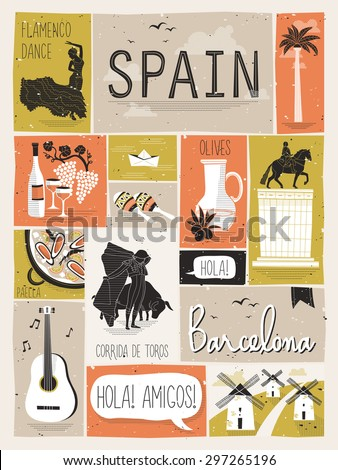 travel concept of Spain in flat design style - stock vector