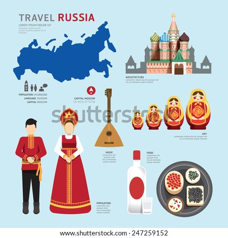 Travel Concept Russia Landmark Flat Icons Design .Vector Illustration - stock vector